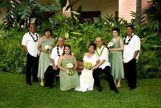 The Pickard wedding party which included both of Jerry's daughters, his brother Doug, his new son-in-law Toby and Dennis Chun - Kam Fong's son.