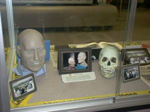 Can you think of a better place to find a skinhead than the military?-Steve McGarrett from Episode SKINHEAD.Doesn't this bear a strong resemblence to that actor? It is a reconstruction of a skull found near Hickam AFB. All these years and he'still unidentified. How sad