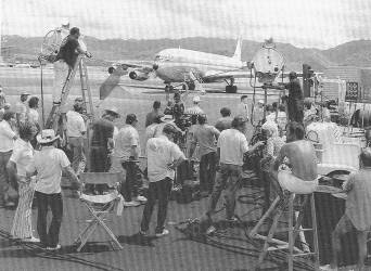 shooting a scene from Aircargo: Dial M