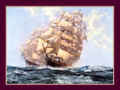 painting of 2 clipper ships
