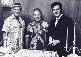Al Harrington, Herman Wedemeyer and Jack Lord cut the cake. I  think this was the 100th episode party