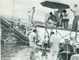 setting up to shoot a location sequence in Honolulu Harbor
