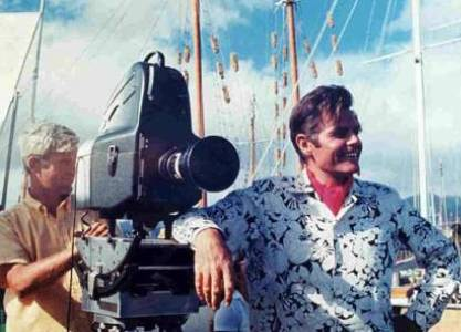 Jack Lord and an unnamed camera man. This was taken on the Ala wai canal