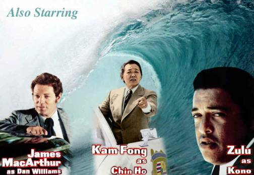 a wave containg photos of James MacArthur, Kam Fong and Zulu